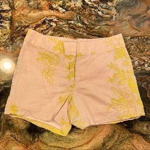 J Crew khaki shorts with yellow embroidery size 0